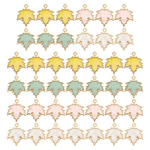 ULTNICE Alloy Charm 40Pcs Leaf Shape Hanging Pendants Hand DIY Craft Jewelry Making Ornaments