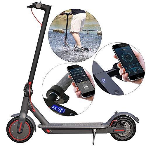 Patinete eléctrico, motor de 350 W, scooter ligero y plegable para adultos, pantalla LCD a color, Bluetooth, APP Contorl, negro