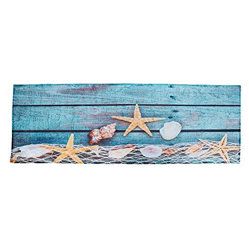Vaorwne Retro Azul Parquet Roja de Pesca Concha Conchas Estrellas de Mar NáUtico Antideslizante Decorativo Alfombras de Ba?o Alfombras para Accesorios de Ba?o Ducha 40X120Cm/16X48 Pulgadas
