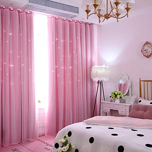 SXCDD Doppel-Schicht Verdunklungsvorhänge,Simple Modern Tuch Garn Vorhang,Gaze Vorhang Für Bay-Fenster Wohnzimmer,1stk C 300x270cm (118x106inch)