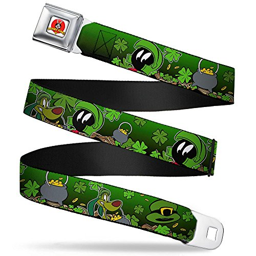 Buckle-Down Belts Buckle-down Seatbelt Buckle - Marvin the Martian & K-9 Poses/Clovers Greens 1.5' Wide 24-38 Belt, Multicolor, 1.5 Wide Inches in Length US