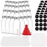 28 Gewürzgläser Set 170ml mit 42 Ausgießern – Glasbehälter mit einer Füllmenge von 170ml – Wiederverwendbare Gläser mit Luftdichtem Deckel – Bedruckte und unbedruckte Label – Mit Stift