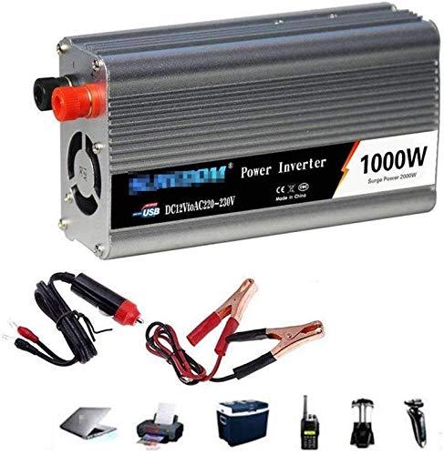 1000W Automotriz Pure Sine Voltage Converter DC 12V / 24V a AC 110V 220V 230V Convertidor inversor de automóvil - Convertidor de inversor con zócalo y puerto USB.Power Power 2000 vatios, para coche, c