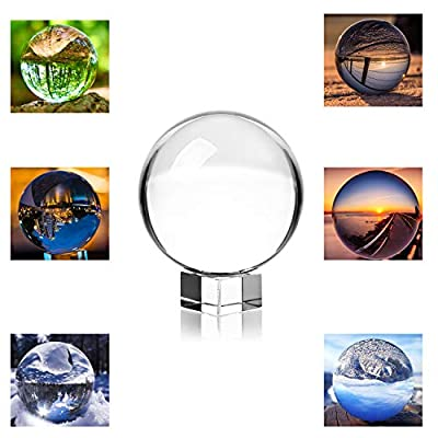 MerryNine Professional Crystal Ball Photograph, K9 Crystal Suncatchers Ball with K9 Crystal Stand, Decorative and Photography Accessory (80mm Ball + 4cm Stand)