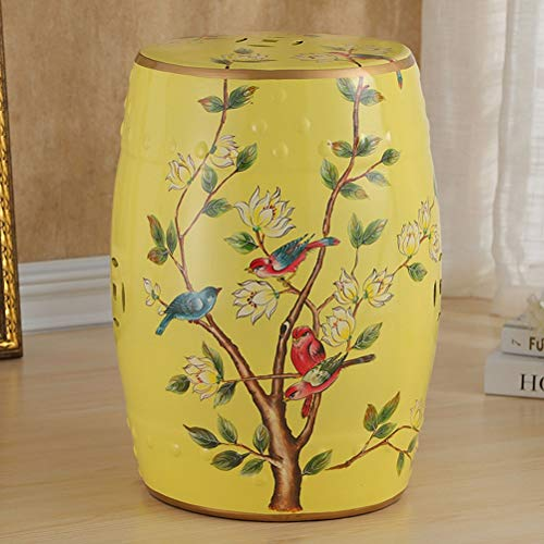 WLL- Jingdezhen casa de antigüedades Tambor de Porcelana vidriada Jardín de heces Pintado a Mano de cerámica Redondo del Taburete de cerámica del Tambor (46x28cm) (Color : C)