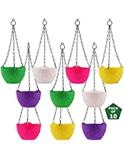 Leafy Tales Plastic Hanging Pot with Chain, 18.5 x 12.5 x 32 cm, 10 Pieces, DCP
