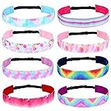 8 Stk. Tie Dye Stirnband für Mädchen Mode Kopfband Stirnbänder Elastische Haarband Anti Rutsch für Yoga Tanzen Laufen Sport Party Gastgeschenke für Jugendliche Mädchen Kinder