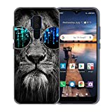 Case for Cricket Influence/ATT Maestro Plus V350U Phone Case AT&T Prepaid Phone Case Soft TPU Phone Cover Glasses Lion