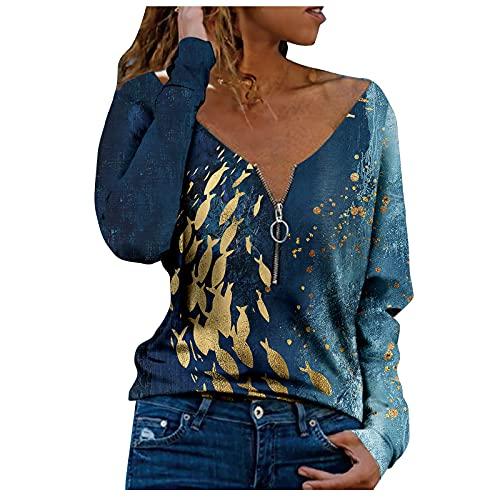VEMOW Blusas y Camisas de Manga Larga para Mujer con Cuello en V, 2021 Moda Mujer Camiseta de Manga Larga Elegante Corazón Impreso Blusas Primavera Otoño Básico Camisa Jersey Tops(H07 Verde,L)