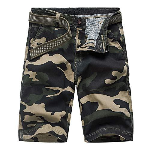 Aiserkly Herren Camouflage Multi-Pocket Cargo Short Arbeitshose Gürtel Hose Kurze Lockere Bequeme Stoffhose Hosen
