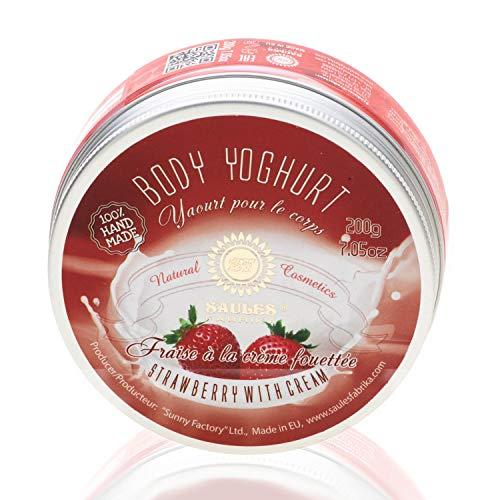 SAULES FABRIKA Body-Yoghurt, Body-lotion mit langanhaltendem Duft, Körper-creme, SPA-Erlebnis, 100{5d7603ae1dfdf9b2f420a702559c59f51e7880fa6d777b6824fcd82004499f4a} Bio, Vegan, Handmade Duft: Erdbeer-Sahne