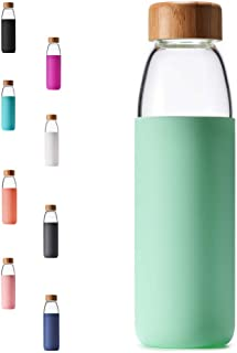 293ee91952 Veegoal Dishwasher Safe 18 Oz Borosilicate Glass Water Bottle with Bamboo  Lid and Protective Sleeve-