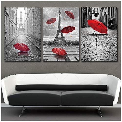 HYFBH Wandkunst Bild Poster Leinwand Gemälde Dekor für Zuhause Schwarz-Weiß-Eiffelturm mit rotem Regenschirm auf Paris Street Picture 40x60cm (15,7