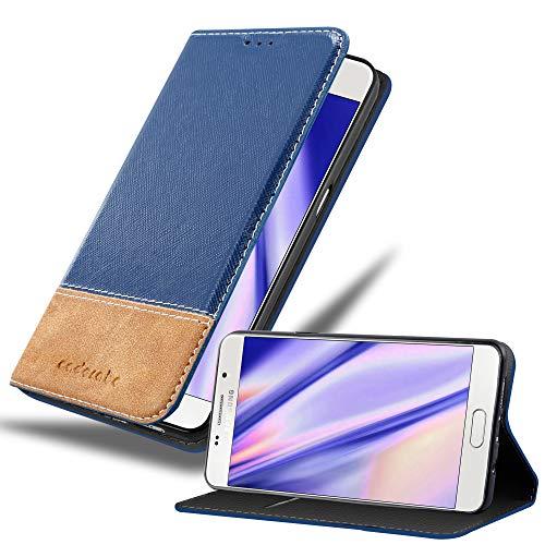 Cadorabo Hülle für Samsung Galaxy A3 2016 (6) - Hülle in DUNKEL BLAU BRAUN – Handyhülle mit Standfunktion & Kartenfach aus Einer Kunstlederkombi - Hülle Cover Schutzhülle Etui Tasche Book