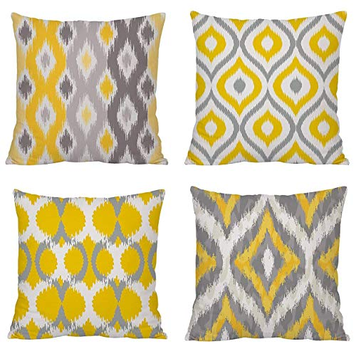 TIDWIACEYellow, Gray Cotton and linen Cushion Cover Decorative Square Throw Pillow Case Pillowcases for Livingroom Sofa Bedroom with Invisible Zipper 45x45cm/18x18 Inch Set of 4