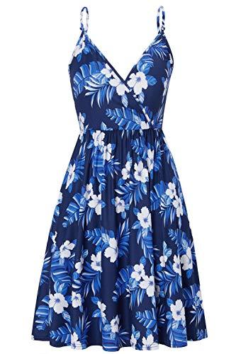Damen Trägerkleid Sommer Kleider mit Blüte Drucken Knielang Midikleid Vintage V Ausschnitt Strandkleid Freizeitkleider für Urlaub Strand Party...