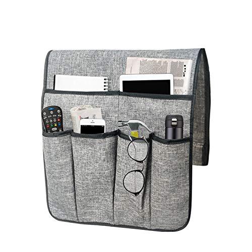 NGLVKE Organizer per bracciolo Divano, Caddy per Poltrona con 6 Tasche per Caricatore, Libri, Telecomando TV, Telefono Cellulare, iPad (Grigio)