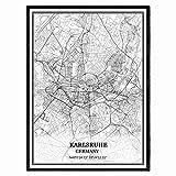 Karlsruhe Deutschland Karte Wandkunst Leinwand drucken