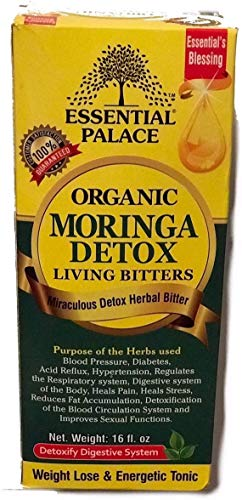 Organic Moringa Detox Living Bitters Anti-INFLAMMATORY, in Glass for Eyes/Asthma/Kidney/Diabetes/Weight Loss/Cancer/Immunity/DETOXIFICATION/Blood/Heart/Sexual ENHANCEMENTS (16 oz (1 Bottle))