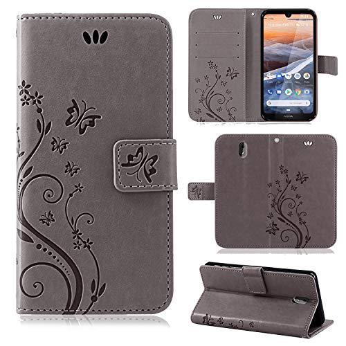 betterfon | Nokia 3.2 Hülle Flower Case Handytasche Schutzhülle Blumen Klapptasche Handyhülle Handy Schale für Nokia 3.2 Grau