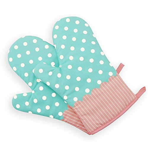 1 Paar Hitzebeständig Ofenhandschuhe Verdickte Hitzeresistente Topflappen Backhandschuhe aus Baumwolle und Polyester (3#) - Gepunktet Türkis