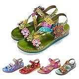 gracosy Sandalias Cuero Planas Verano Mujer Estilo Bohemia Zapatos para Mujer de Dedo Sandalias Talla Grande 37-42 Chanclas Romanas de Mujer Rojo Azul Púrpura Naranja Hecho a Mano Los Zapatos 2020