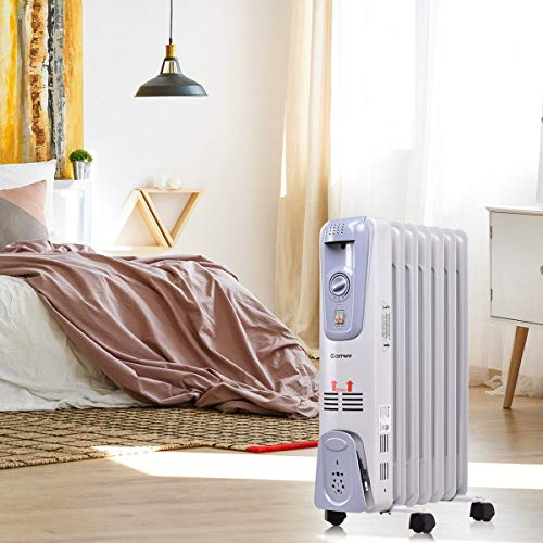 For Sale! Electric Heater with 4 Universal Caster 1500 Watt 7 Fin Electric Oil Filled Space Thermost...