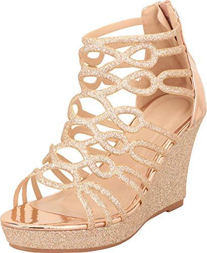 Cambridge Select Women's Cutout Glitter Platform Wedge Sandal,7.5,Rose Gold Glitter