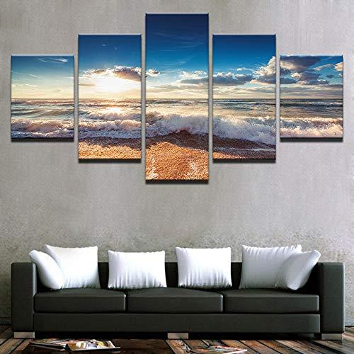 XIAOJIJI muurkunst schilderijen wandschilderij zonder lijstjes spuitschilderij olieverfschilderij vijf canvas schilderij zonsondergang strand zeestuk huis decoratie schilderij schilderij 30*50cm*2 30*70cm*2 30*80cm*1(cm) Frameloos