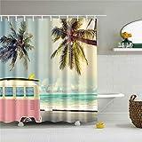 Meiju Duschvorhang, Wasserdicht Waschbar 12 Duschvorhangringe für Badezimmer 3D Digitaldruck Grüne Pflanze mit lebendigen Farben (120x180cm,Bus)