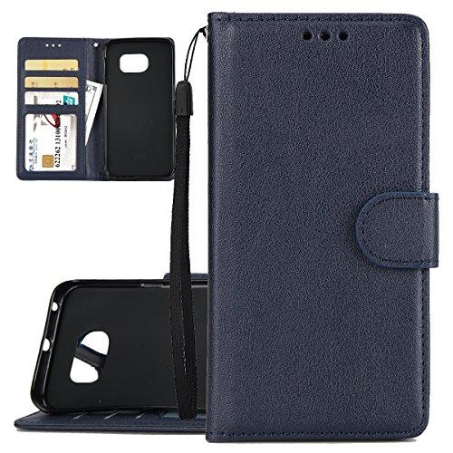 ISAKEN Custodia Galaxy S6 Edge, Cover per Samsung Galaxy S6 Edge con Strap Libro PU Pelle Case Flip Portafoglio Protezione Caso con Supporto di Stand/Carte Slot/Chiusura, Blu Scuro