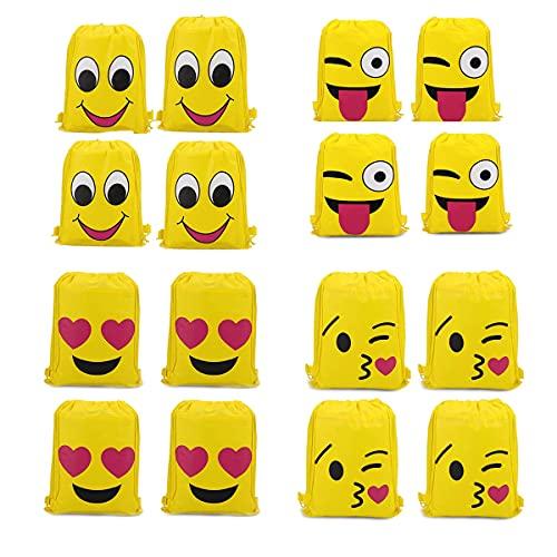 RoadLoo Emoji Borse Sacca, 16 Pezzi Zaino con Coulisse Borsa Funny Sacca da Goody Tasca Coulisse Sportiva Sacche Drawstring Bag Sacche Palestra Sacchettini Ragazzi Bambina per Festa Compleanno