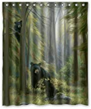 KXMDXA Black Bear Family in The Forest Waterproof Polyester Bath Shower Curtain Size 60x72 Inch