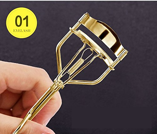 nalmatoionme Edelstahl Profi Wimpernzange Eye Lashes Curling Clip (Golden)
