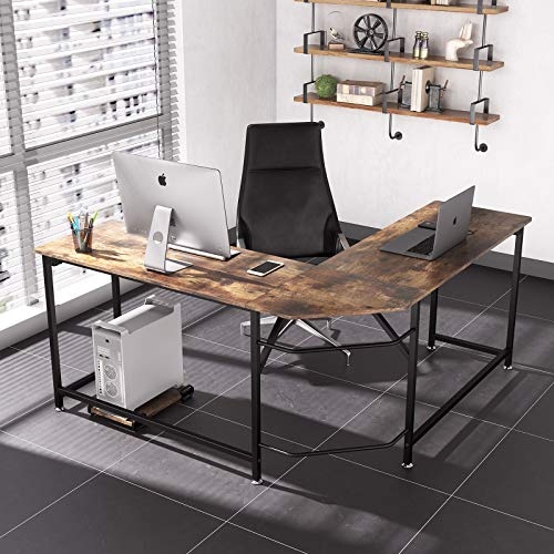 L-Shaped Corner Desk, Computer Desk, Dripex Home Office Writing Desk, Space-Saving, Easy to Assemble Computer Corner Desk, Rustic Brown