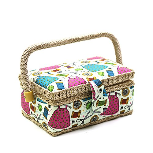 D&D Small Sewing Basket with Sewing Kit Accessories for Girls/Kids/Beginners (Multicolored)