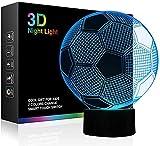 GHGD Luces nocturnas de fútbol para niños, Luces de fútbol con ilusión 3D, 16 lámparas de Escritorio de Mesa táctiles con Cambio de Color Remoto, Regalo, cumpleaños, Deportes, fanáticos del Tema