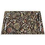 Set di 6 Tovagliette Doodle Nativo Americano Lavabile Antiscivolo Resistente al Calore per la Cucina e la tavola 45x30cm