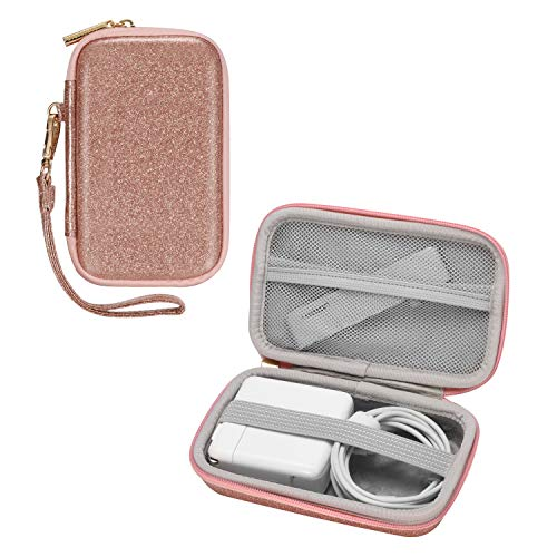 Comfyable Handy Case Compatible for MacBook Power Adapter, MagSafe, MagSafe2, iPhone 12 Pro MagSafe Charger, Carrying Case for 2.5-inch External Hard Drive, Charger Pouch Bag for Women, Pink Glitter