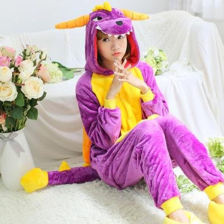 MHRita Unisex Autumn and Winter Conjoined Pajamas Set Purple Dinosaur Pyjamas Women Adult Unicorn Pajamas Pijama Cosplay Sleepwear,Lavender,S