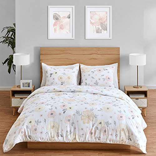 Sweet Jojo Designs Yellow and Pink Watercolor Floral Girl Full/Queen Bedding Comforter Set Kids Childrens Size - 3 Pieces - Blush Peach Orange Cream Grey and White Shabby Chic Rose Flower Farmhouse