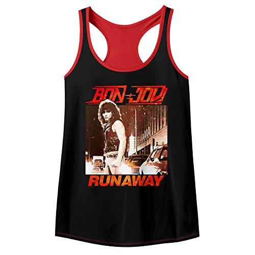 Bon Jovi Rock Band Runaway camiseta sin mangas con ribete de color negro y rojo para mujer Multicolor multicolor L