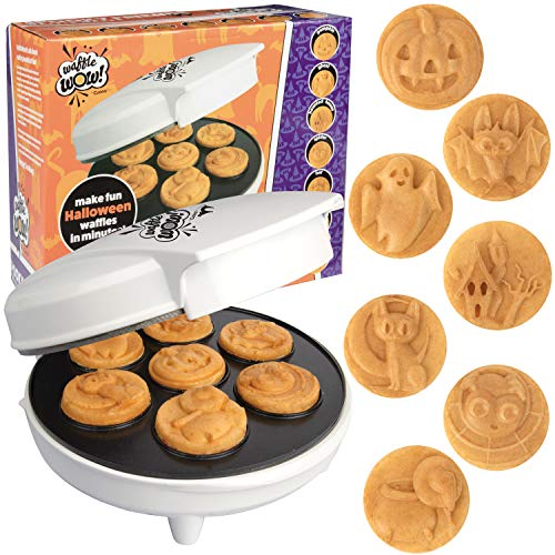 Halloween Mini Waffle Maker - 7 Different Spooky Designs - Make Breakfast Fun This Thanksgiving with Electric Nonstick Waffler Iron Featuring a Pumpkin, Bat, Ghost, Spider & More