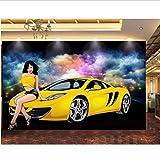 Wffmx De Foto De Fondo De Pantalla 3D Paño Vistosas Belleza Coche Fondo De La Barra De Tv De Pared Caseros De La Decoración Murales De Dibujos Animados 3D Fondos De Pared De 3 D-450X300Cm