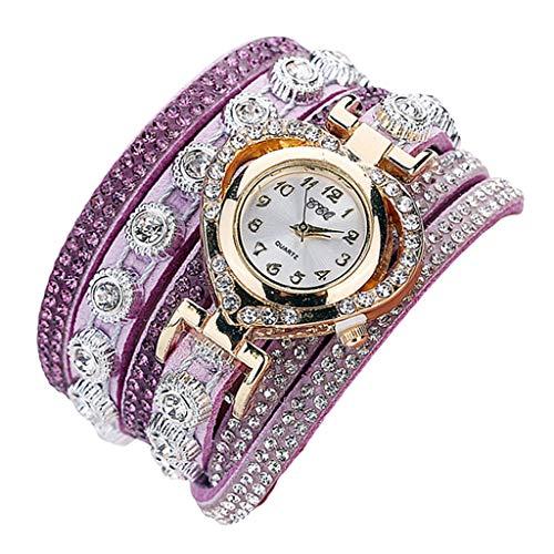 Sharplace Damen Uhr Strass Armbanduhr Frauen Armband Uhr Mädchen Mode Uhren Damenuhren Quarzuhr - Lila