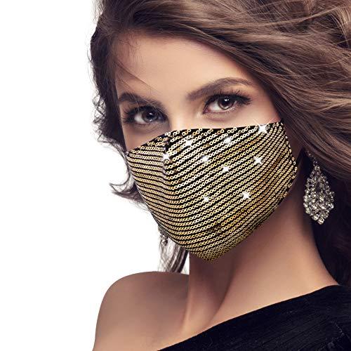 MEROURII Glitzer-Gesichtsmaske, Masquerade Stilvolle Kristall-Gesichtsmaske für Frauen, Glitzer-Pailletten-Maske Waschbar und wiederverwendbare Bling-Masken für Mädchen Party Nachtclub Halloween, Gold
