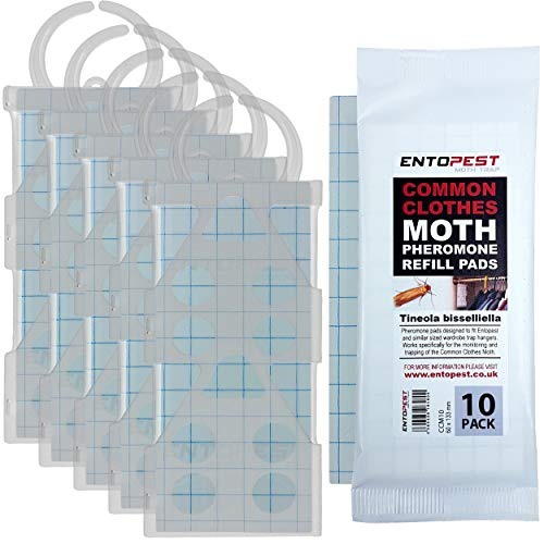 Entopest 5 x Professional Common Clothes Moth Traps & 10 Pheromone Glue Boards