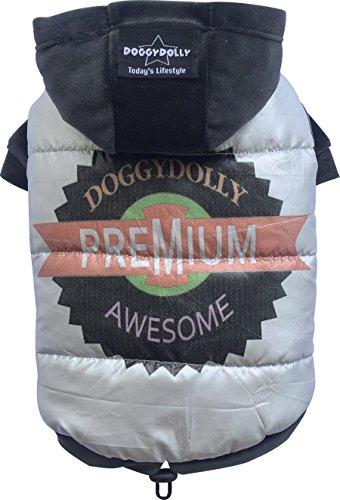 Doggy Dolly W269 Hundejacke Premium mit Samt-Kapuze und Ärmeln, silber, Outdoor Wintermantel/Winterjacke, Größe : XS