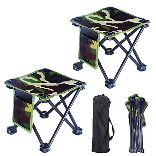 GZPANDA Folding Stool 2 Pack Portable Chair Folding Camping Stool with Carry Bag for Outdoor Activities Camping Fishing Hiking