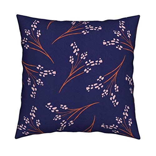 Toll2452 Throw Pillow Cover Dreamy Heather Lapis Floral Sofa Decorative Cushion Cover 18in
